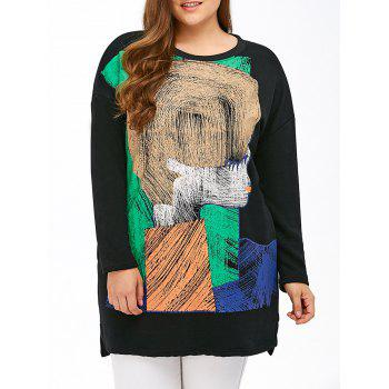 Color Block Print Cartoon Sweatshirt