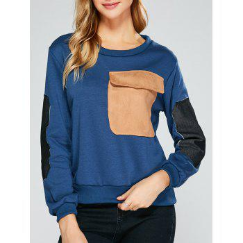 Buy Flap Pocket Color Block Applique Sweatshirt CADETBLUE