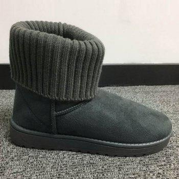 Ribbed Knitted Flock Snow Boots - GRAY 38