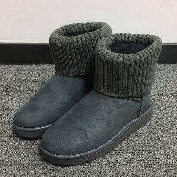Ribbed Knitted Flock Snow Boots - 38 38