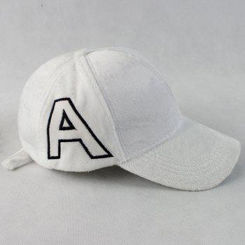 Letter A Embroidery Plush Baseball Hat