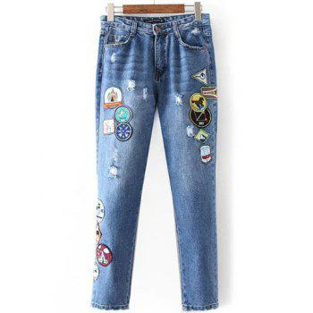 Patched Distressed Jeans