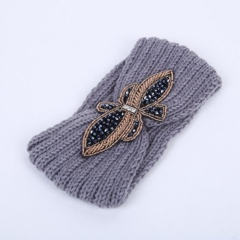 Rhinestone Bowknot Infinite Knitted Headband
