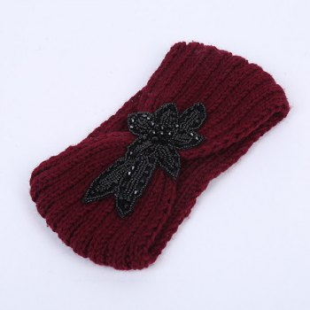 Rhinestone Flower Infinite Knitted Headband