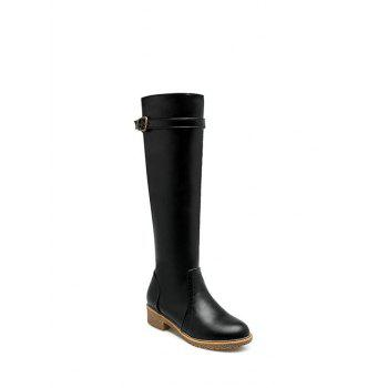 Low Heel Buckle Strap Knee High Boots