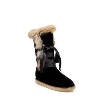 Faux Fur Ribbon Mid Calf  Snow Boots