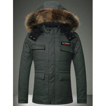 Furry Hood Zip-Up Applique Pockets Padded Coat