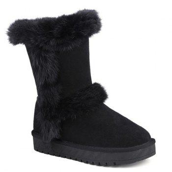 Furry Mid Calf Snow Boots