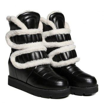 Fuzzy Platform Hidden Wedge Boots