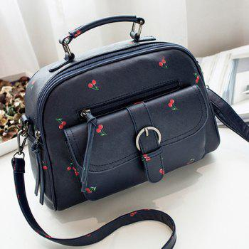 Buckle Strap Cherry Print PU Leather Handbag