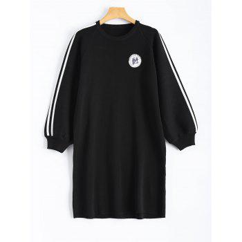 Cow Badge Embroidery Applique Long Sleeve Casual Dress