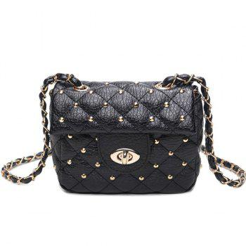 Quilted Rivet Chains Crossbody Bag - BLACK BLACK