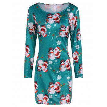Festival Christmas Santa Claus Snowman Print Dress