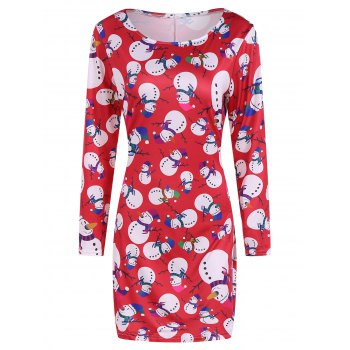 Festival Fulled Christmas Snowman Print Dress