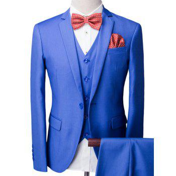 One-Button Solid Color Long Sleeve Lapel Men's Three-Piece Suit ( Blazer + Waistcoat + Pants )
