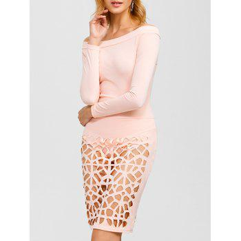 Off Shoulder Bandage Caged Bodysuit Dress