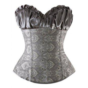 Ruffled Lace Up Jacquard Panel Corset
