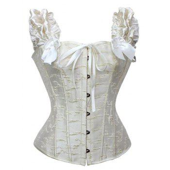 Ruffled Steel Boned Jacquard Corset Top