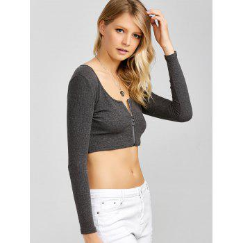 Long Sleeve Zip Front Crop Top - DEEP GRAY XL