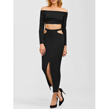 Crop Top and Front Slit Cut Out Skirt