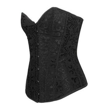 Jacquard Steel Boned Lace-Up Corset