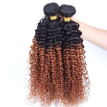 1 Pcs Kinky Curly 6A Virgin Brazilian Double Color Hair Weave - 10INCH 10INCH