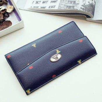 Print PU Leather Clutch Wallet - DEEP BLUE