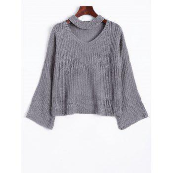 Wide Sleeve Cut Out Choker Sweater