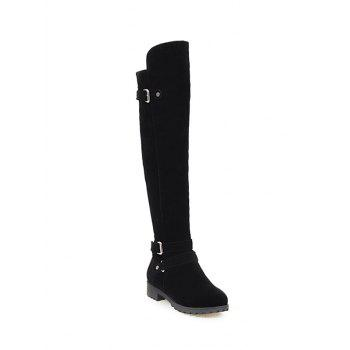 Zipper Double Buckle Metal Knee High Boots