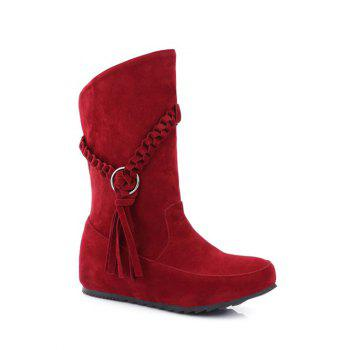 Weave Hidden Wedge Tassels Mid Calf Boots
