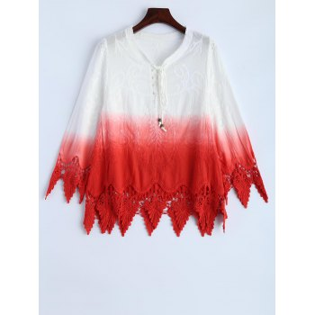 Ombre Embroidered Lace Spliced Blouse