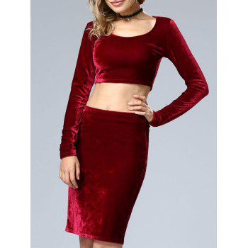 Velvet Crop Top and Bodycon Skirt Twinset - WINE RED XL