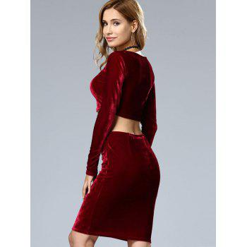 Velvet Crop Top and Bodycon Skirt Twinset - WINE RED S