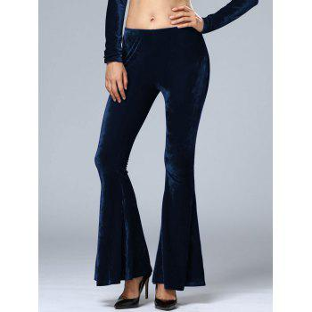 Velvet Elastic Waist Flare Bottom Pants