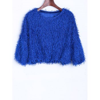Novelty Faux Mohair Crop Sweater