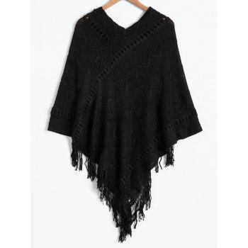 Asymmetric Fringed Poncho Sweater