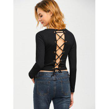 Lace Up Knit Pullover Fitted Ribbed  Crop Top - BLACK L