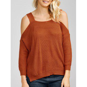 Dolman Sleeve Cold Shoulder Knitted Sweater
