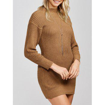 Mock Neck Knit Slimming Sweater Dress