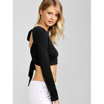 Open Back Bowknot Crop Top - BLACK XL