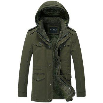 Buy Pocket Epaulet Design Flocking Hooded Jacket ARMY GREEN