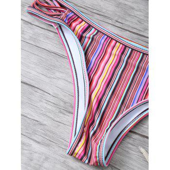 High Neck Striped Split Halter Bikini - multicolorCOLOR XL