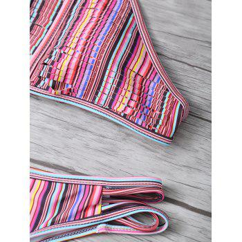 High Neck Striped Split Halter Bikini - multicolorCOLOR L