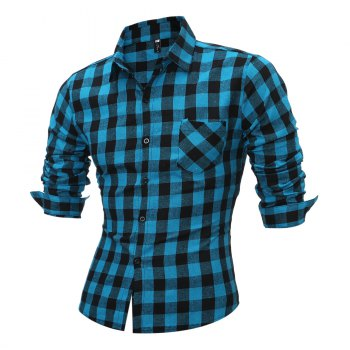 Breast Pocket Long Sleeve Button Up Plaid Shirt