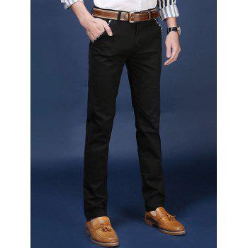 Zipper Fly Mid Rise Trimmed Pocket Pants