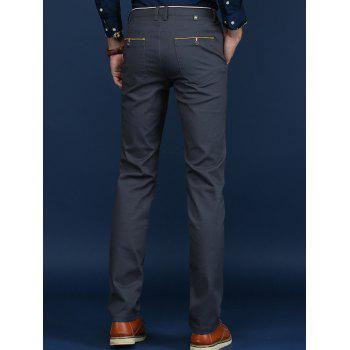 Button Pocket Trimmed Mid Rise Casual Pants - DEEP GRAY 29