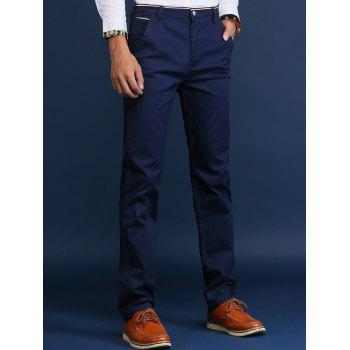 Button Pocket Trimmed Mid Rise Casual Pants