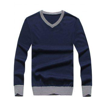 V Neck Striped Hem Pullover Sweater - DEEP BLUE DEEP BLUE