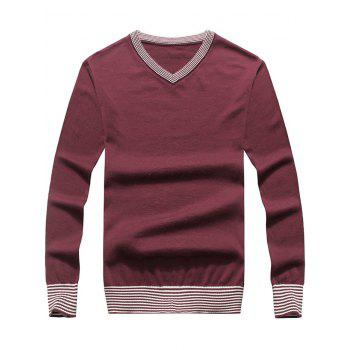 V Neck Striped Hem Pullover Sweater - BURGUNDY BURGUNDY