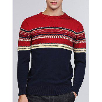 Crew Neck Tribal Pattern Pullover Sweater